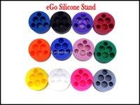 ego q e cig großhandel-Silikon Stand eGo Halter 6 Löcher 4 Löcher für E Zigarette Silikon Basis Halter für eGo-t Q vv Batterie E Cig Sucker Mischfarben erhältlich