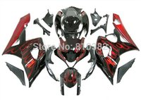 k5 parçalar toptan satış-2015! SUZUKI GSXR 1000 için motosiklet kaporta kiti 05 06 GSX-R GSXR 1000 K5 2005 2006 Kırmızı alevler siyah trim parçaları