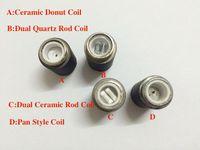 Wholesale Replacement Atomizer Tanks - Skillet Atomizer replacement head, skillet vaporizer Ceramic Donut coil Wax tank vaporizer, Quartz Replacement wax skillet atomizer