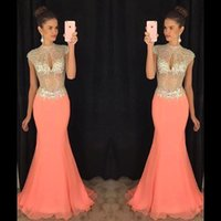 Wholesale Evening Dress Beaded Bust - Coral High Beaded Collar Keyhole Bust Rhinestone Chiffon Mermaid Prom Dresses 2016 Arabic Illusion Bodice Maxi Formal Evening Gowns BA2012