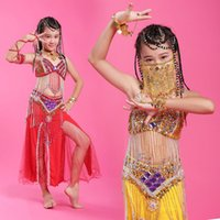 Wholesale Girls Indian Dance Costumes - 2015 Girls Belly Dance Professional 6Colors Kids Dance Clothing Children Costume Indian Dance Indian Clothes Belli Dancer DQ2039