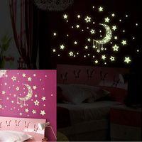 autocollants de plafond étoiles achat en gros de-Autocollants pour la maison lumineuses lumineuses