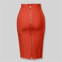 elastik bandaj mini toptan satış-Toptan-Marka Nerw Seksi Moda Kırmızı Siyah Bandaj Kalem Etek Yeni Varış Elastik Bodycon Etekler 54 cm