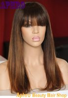 Wholesale Human Hair Top Bangs - Premium Unprocessed Brazilian Original Hair Silk Top Full Lace Ombre Blonde Wigs With Bangs 130% Density Human Hair Glueless Lace Front Wigs