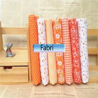 Wholesale mixed design orange Printed Cotton Fabric plain weave for Handmade Sewing Material Patchwork Curtain Needlework DIY craft cm orange