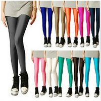 Wholesale Tight Pants White Color - HOT Sexy Leggings For Women Girl Shiny Candy Color Stretchy Pants Skinny Stretchy Pants Soft Tights Women's Clothing