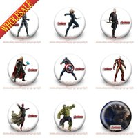 Wholesale Avengers Pin - 90Pcs Avengers Super Heroes Buttons Pins Badges,30MM,Round Brooch Badges,Mixed 9 Models, For Children Toy,Free Shipping