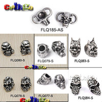 Wholesale Making Lanyard - Wholesale-10pcs Skull Beads Charm Metal For Paracord Bracelet Knife Lanyards Jewelry Making Accessories #FLQ077 78 79 80-S,FLQ183 184-S