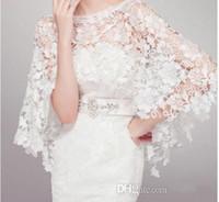 Wholesale Cheap Ivory Lace Shawl - 2016 Cheap Tulle Applique Bridal Wraps White Ivory 2015 Lace Wedding dresses Prom Bolero Coat Shrug Cape Shawl Flower Custom Made