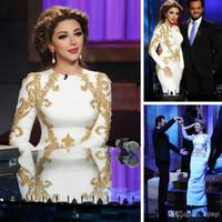 vestido de noche de cantante al por mayor-2017 árabe musulmán cantante sexy Myriam Fares Vestidos formales Cuello de joya con sirena moldeada Longitud del piso Noche Vestidos de celebridades