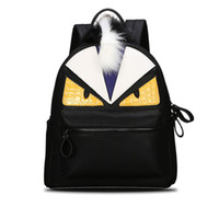 Wholesale Cute Travel Backpacks For Women - Wholesale- Women's Backpack Designer Black Cartoon Eyes Monster Backpacks With Fur Travel Bag Cute Backpacks For Teenage Girls
