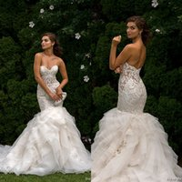 Wholesale Eve Milady Dresses - Eve of Milady Lace Wedding Dresses 2017 Sweetheart Mermaid Sheer Appliques Backless Tired Skirts Ruffles Plus Size Beach Spring Bridal Gowns