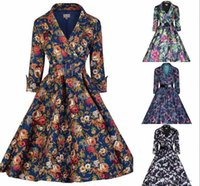 Wholesale Cheap Women S Winter Dresses - New Women Autumn 3 4 sleeves Cheap Casual Dresses Skirt with Belt Flora Printed Five Colors Ball Gown OXL166