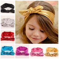 cintas para la cabeza metálicas anudadas al por mayor-10 unids NUEVO niño bronceado Turbante Twist Headband Wrap Twisted Knot Baby Metallic Bunny Ears arco venda elástica Vintage FD6538