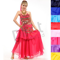 Wholesale Spiral Belly - Promotion Classic 3PCS Spiral Maxi Skirt + Metal Beads Belt +Top Bra Handmade Belly Dance Costumes Set Indian Style Dresses Gold Coins