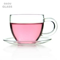 Wholesale Crystal Water Glasses Set - 6Set   Lot Coffee Tea Set - 6*3.39 fl.oz 100ml Heat-Resisting Clear Glass Water Tea Cup Drink Mug w  Handle + 6* Pyrex Crystal Glass Saucer