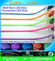 tira de neón azul led al por mayor-Nueva Llegada LED Tira fluorescente colorida Tira de LED Rosa Azul Verde púrpura Naranja DC12V SMD 5630 60 leds / m, IP65 impermeable Neón 5 m / lote