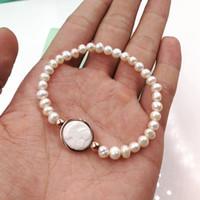 Wholesale White Pearl Strand Freshwater - Hot Lady Pulsera osos 5mm Irregular white Freshwater Pearls steel titanium Animal Panda style charms bracelet Birthday Jewelry for women