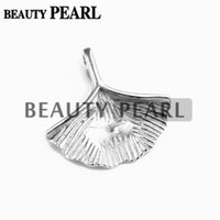 Wholesale 925 silver blanks - Bulk of 3 Pieces Blank Pendant 925 Sterling Silver Ginkgo Leaf Pendant Findings Charm for DIY Jewellery