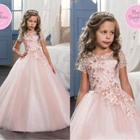Wholesale custom made baptism gowns - 2017 Cute Pink Lace Flower Girl Dresses Wedding Gowns With Sleeves Jewel Neck Baptism Long Little Kids First Communion Pageant Party Dresses