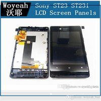 Wholesale St23i Touch - For Sony Ericsson Xperia Miro ST23 ST23i LCD Display and Touch Screen Digitizer Panel Wtih Frame Free DHL EMS