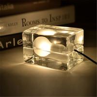 Wholesale ice desk - Modern Glass Crystal desk lamp ice block LED table lamp G9*40W Bulbs Night light Harri Koskinen design house block Holiday Wedding propose