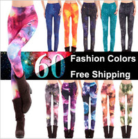 Wholesale Wholesale Ladies Tights Leggings - 2016 Autumn Fashion Women's Ladies Galaxy Leggings Electric Printed Tights leggings pants for Women Spandes Lycra Christmas Promotion 10pcs