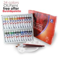 Wholesale Painting Memory - Memory Brand Oil Colors Paints Fine Painting Supplies 24 Colours 12ml Tube Offer Brushes For Free