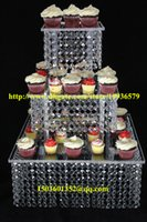 """Wholesale Acrylic Cake Stand Square - Acrylic crystal chandelier wedding square cake stand 3 tier dessert stand centerpieces - D 11""""-13-15"""""""
