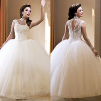 Wholesale Quinceanera Ball Gown Organza - Crystals Beaded Ball Gown White Organza Quinceanera Dresses 2017 Featuring Crew Neckline Capped Sleeve Keyhole Back Girls Prom Dress