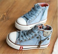 Wholesale New Jeans For Kids - Hot!New 2014 Arrival Kids Shoes Denim Jeans Zipper Sneakers Boys Girls Casual children Shoes flats for children