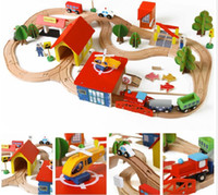 Wholesale Wooden Cars and Trains Set Toys Include Trains Cars Airplane Railway Set Toys Kids DIY Birthday Gifts DHL