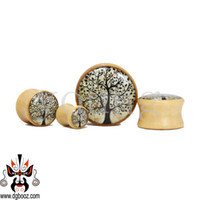 Wholesale Ear Flesh Stretchers Tunnels Plugs - 2015 hot sale fantastic Wood Ear Flesh Tunnel Stretchers Ear Plug Gauges Body Jewelry Piercing Plugs Tunnels WE-037