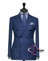 Wholesale Suits Blazers Men - Blue Suit Groom Tuxedos Double-Breasted Peaked Lapel Blazer Business Suits Groomsmen Men Wedding Suit (Jacket+Pants+Tie) NO:04