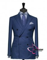 blazer double breasted - Blue Suit Groom Tuxedos Double Breasted Peaked Lapel Blazer Business Suits Groomsmen Men Wedding Suit Jacket Pants Tie NO