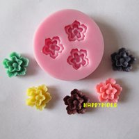 Wholesale Silicone Flower Fondant - New Three holes two layers flower resin molds fondant mold,silicone mold,silicone cake mold,fondant cake decorating tools