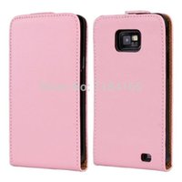 Wholesale Cover S2 Luxury - Wholesale-Classic High Quality Vertical Flip Soft Luxury Genuine Leather Case for Samsung Galaxy S2   i9100 Cover, 11 colors