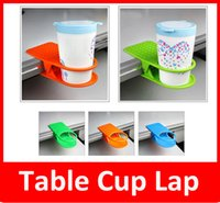 Wholesale Clip Desk Table Cup Holder - New Home Office supplies Drink Cup Coffee Mug Desk Lap Folder Table Holder Clip Table Cup Lap