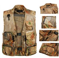 Wholesale hunting jackets camouflage - Fall-M-3XLWaterpoor Outdoor Men Casual Camouflage Vests Jungle Bionic Mesh Breathable Vest for Hunting ShootingSleevless Jackets