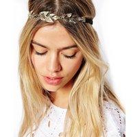 correntes para cabelos venda por atacado-Folha De Ouro Do Vintage De Cristal Hairband Cabeça Headband Da Jóia Do Cabelo Da Cadeia de Cabelo Accessires Cabeça Jóias CF093 cupom