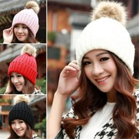 Wholesale girl cowboy hat crochet resale online - Women Winter Warm Braided Crochet Knitting Hat Girl Beret Ski Beanie Ball Cap
