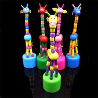 Wholesale wooden giraffe toys online - Lovely Dancing Stand Rocking Giraffe Toy Craft Wooden Toys Kids Educational Plaything Multi Color ds C R