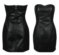 Wholesale Strapless Clubwear Dresses - Wholesale-Black Faux Leather Pencil Bodycon Boob Tube Strapless Mini Skater Dresses Summer Zipper Women Clubwear Midi Prom Dress Shapewear