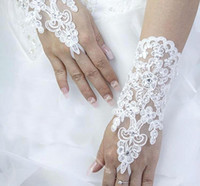 Wholesale Gloves Sexy Bridal - 2016 cheap New Sexy fingerless gloves Wedding Bridal Gloves Accessory Beaded Lace Gloves Wedding Accessories Wrist Length Free Shipping