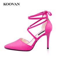 Koovan Flock Leather High Heel Pump Mujeres de la manera Girls Sexy Pointed Shoes Zapatos de boda 8 Cm Stiletto Heel Sandals Ship gratis W563