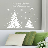 Wholesale Christmas Tree For Wall - lastest new white red choose Merry Christmas Happy new year snowflakes trees 58*41cm living room home Wall Sticker Decor