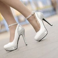 Wholesale Chain Ankle Strap High Heel - Hot 2015 Sapatos Femininos Salto Alto New Fashion Golden Chain Bridal white Wedding Shoes For Women Platform 12cm Ultra High Heels.