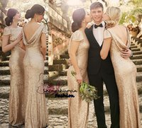 Pretty Sequined Sheath Bridesmaid Dresses Bateau Neck Champagne Short Sleeves Open Back Floor-Length 2016 Formal Evening Gowns Custom