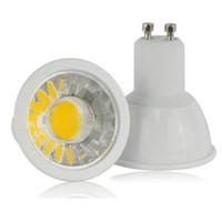 mr16 led 12v sıcak beyaz toptan satış-GU10 6 W COB LED Spot Dim AC110-240V plastik Alüminyum ev Spot Işıklar (Soğuk / Sıcak Beyaz Lamba) ücretsiz kargo 50 adet / grup LVD UL VDE