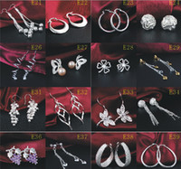Wholesale Fashion Mixed Pairs a Sterling Silver Earrings Jewelry Charming Women Girl Earrings Multi Choices Earrings Best Christmas gift